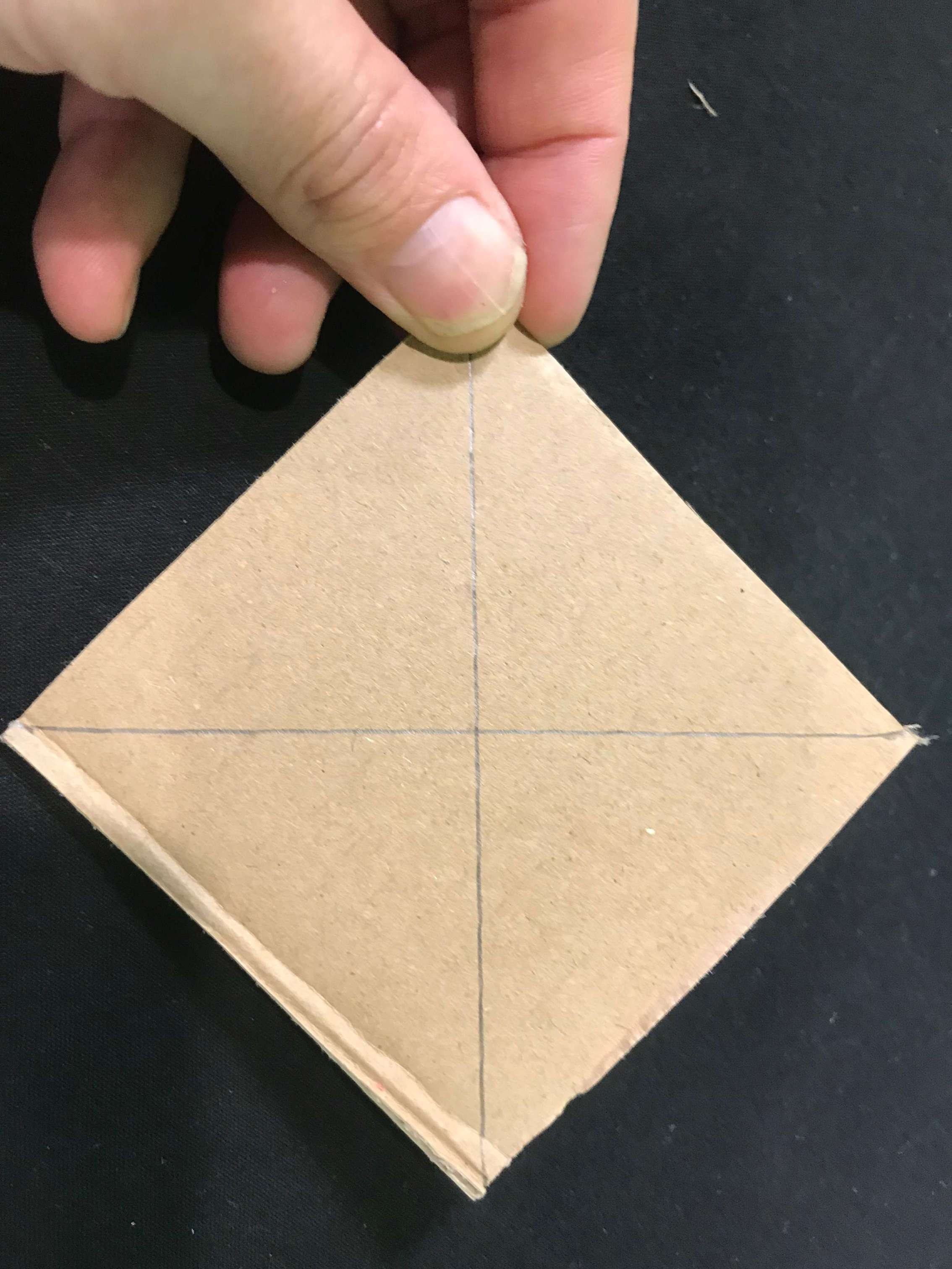 Make a square wheel car science experiment - completed wheel with lines