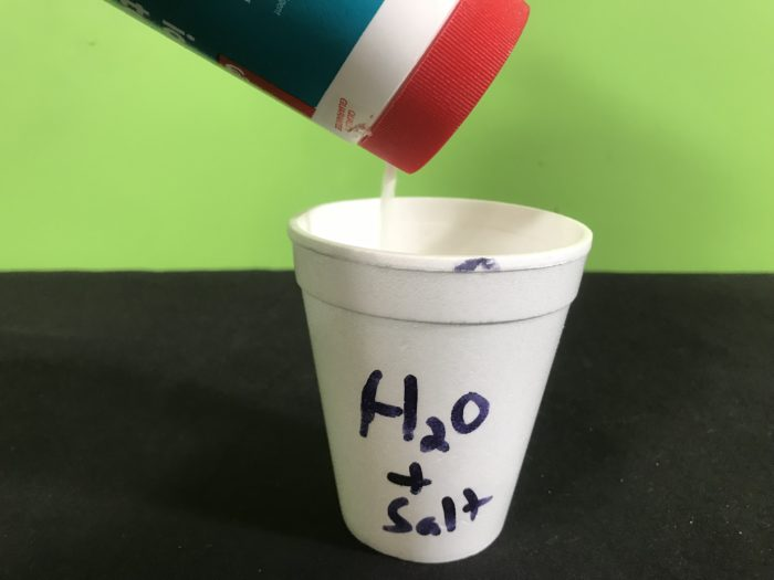 Shriveling potato science science experiment - adding salt to a cup