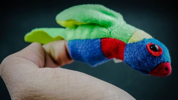 Rainbow lorikeet finger puppet