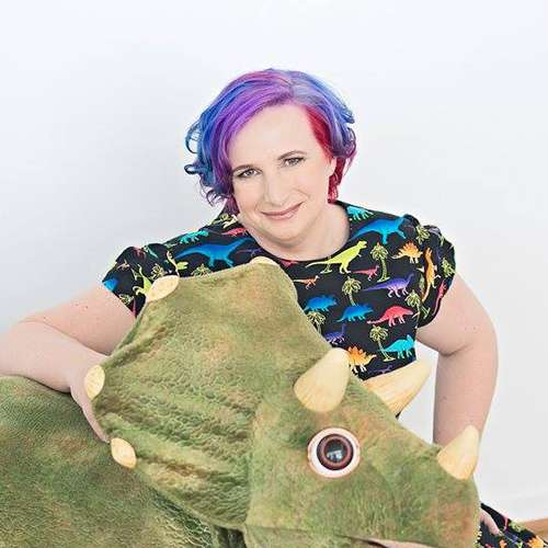 Jenni with a dinosaur