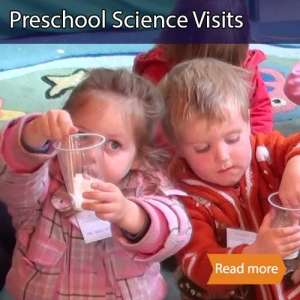 Preschool science visits  tile showing two young children mixing ingredients in a cup