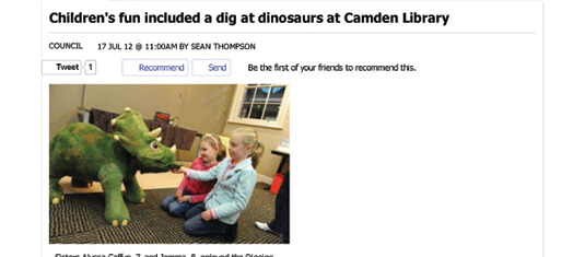 2012 Childrens fun included a dig at dinosaurs at Camden Library - Council - News - Macarthur Chronicle Camden Edition