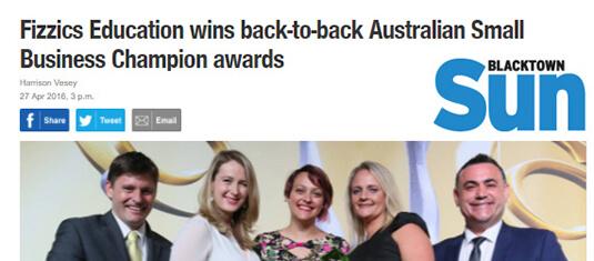 Fizzics Education wins back-to-back Australian Small Business Champion Awards 27 April 2016