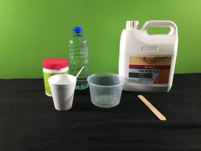 PVA Glue and Borax slime science experiment variant - materials needed