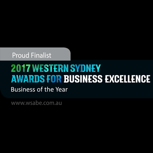 blue green and white text saying 2017 WSABE Business of the Year banner with a black background