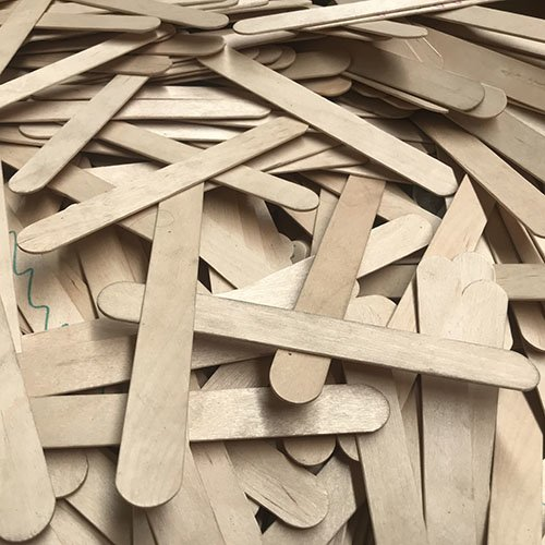 A pile of wooden tongue depressors