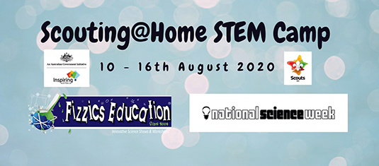 SciScouts WA STEM Camp 2020 title showing Scouts, Inspiring Australia and Fizzics Education logos