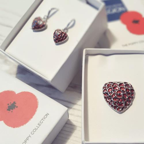 Buckley London Official Poppy Brooch and earrings set