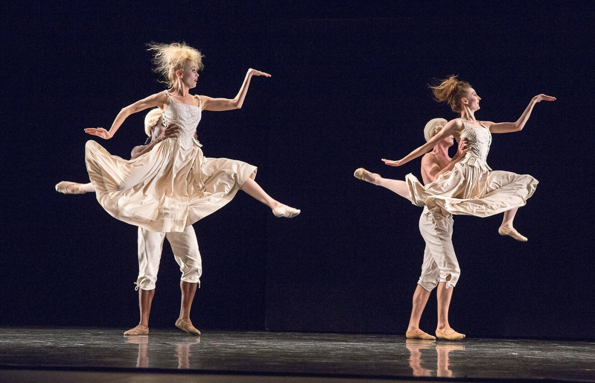 "Julia Cinquemani, Britta Lazenga, Christopher McDaniel and Zachary Guthier in ""Sechs Tänze."" Photograph by Reed Hutchinson"