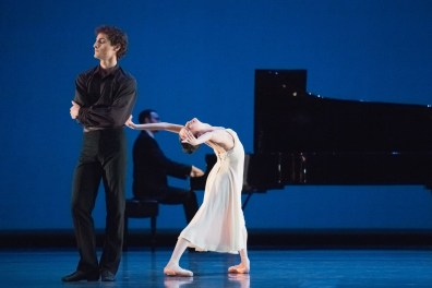 """Carlo Di Lanno and Mathilde Froustey in Helgi Tomasson's """"Valse Poeticos."""" Photograph by Karolina Kuras"""