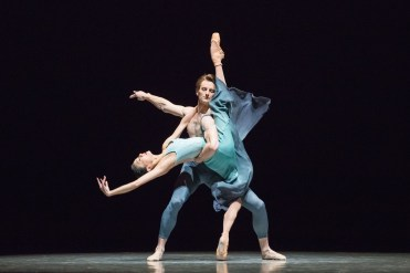 "Yuan Yuan Tan and Aaron Robison in Stanton Welch's ""La Cathedrale Engloutie."" Photograph by Karolina Kuras"