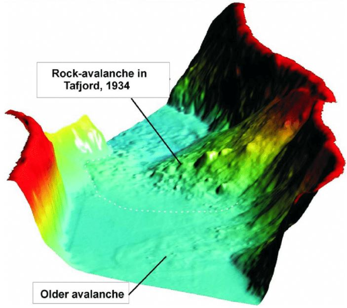 3-D image showing the rock avalanche deposits in the fjord. View towards the north.