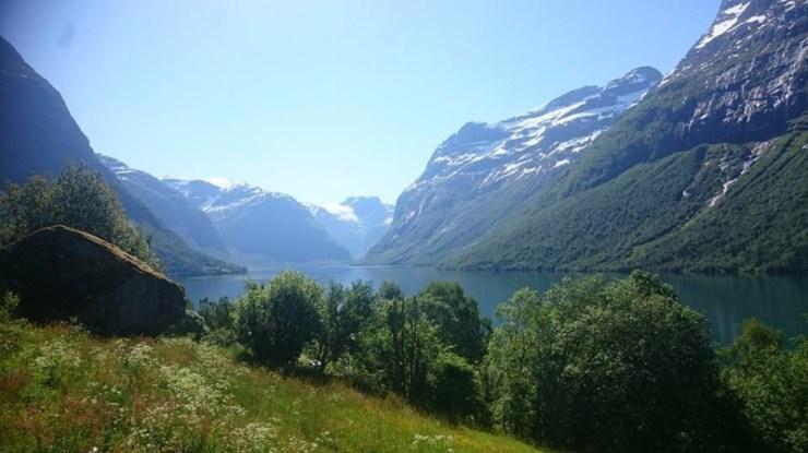 View inwards the lake Lovatn.