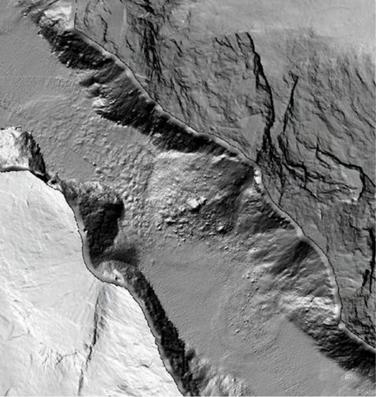 3-D image of the fjord Tafjorden showing the shape of the submarine landscape where the rock avalanche took place and adjacent areas, and the shape.