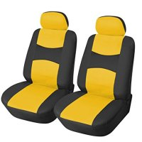 115910 Bk/Yellow-Leather Like 2 Front Car Seat Covers Compatible to Toyota Yaris Tacoma 4 Runner FJ Cruiser Land Cruiser 2017-2007