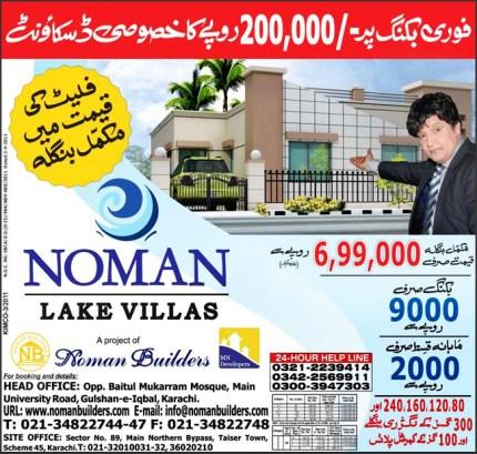 Noman Lake Villas Northern Bypass Taiser Town scheme 45 Karachi