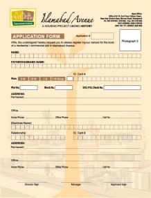 Islamabad Avenue Housing Project - Application Form