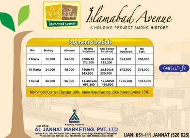 Islamabad Avenue Housing Project - Payment Schedule