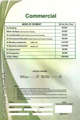 Saima Green Valley Karachi (Payment Schedule commercial plots 100 yards)