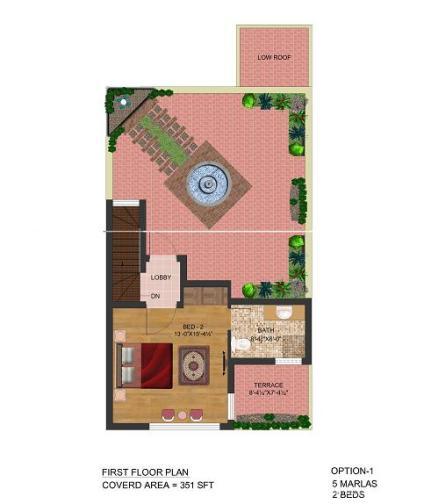 First Floor Plan 5 Marla Ground floor 2beds - Park view villas