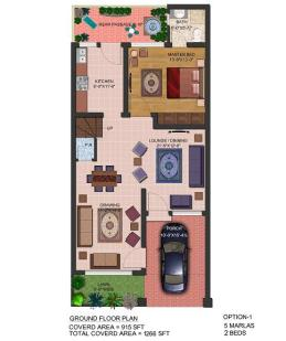 layout drawing 5 Marla Ground floor 2beds - Park view villas
