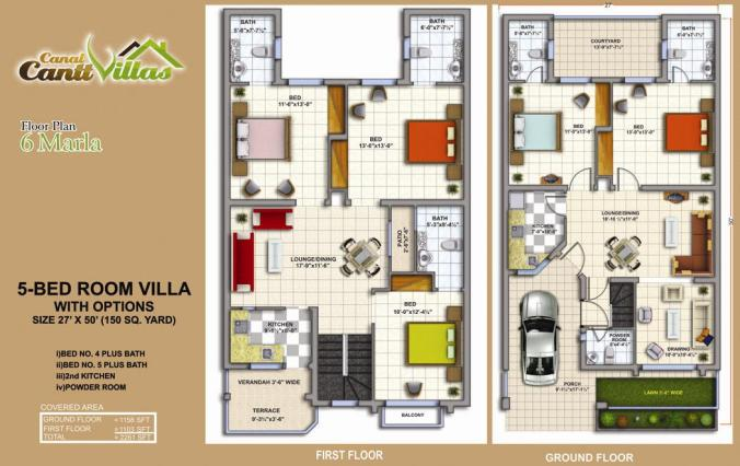 Cantt Villas Multan Floor Plan - 6 Marlas, 5 Bedrooms