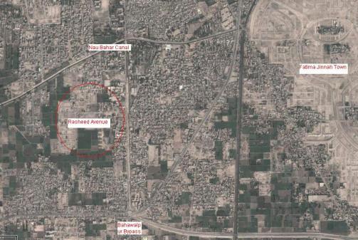 Location and Satellite Map of Rasheed Avenue Multan