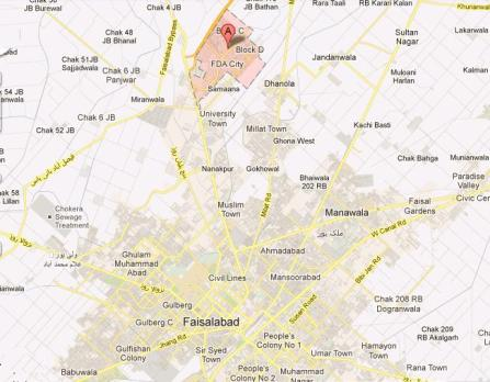 Location Map FDA City Faisalabad