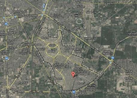 Fatima Jinnah Town Multan Satellite Map (Dec 2012)