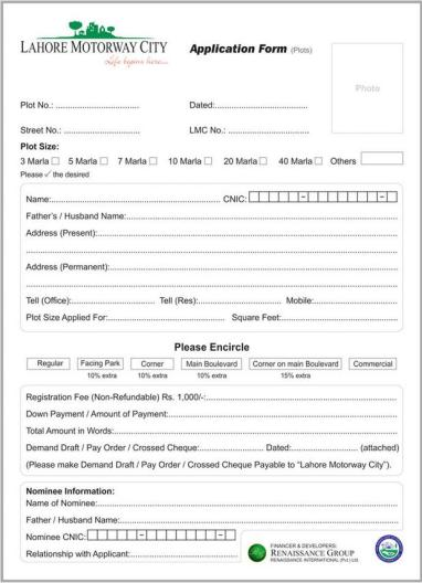 Lahore Motorway City - Application Form for Plots