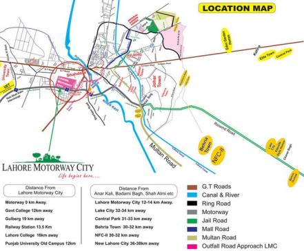 Lahore Motorway City - Location Map or Plan