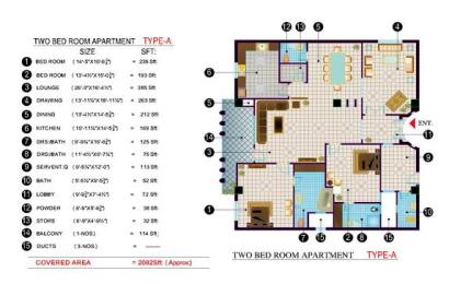 Balcony 99 Apartments DHA Lahore - 2 bed room layout plan