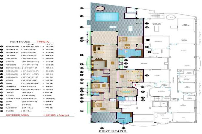 Balcony 99 Apartments DHA Lahore - Pent House layout plan