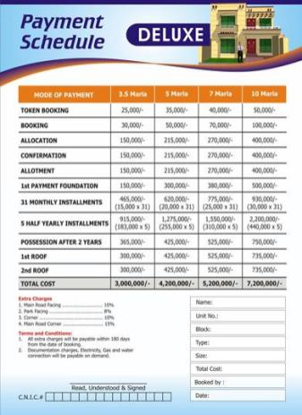 Metro Homes Multan - Deluxe Category Payment Plan