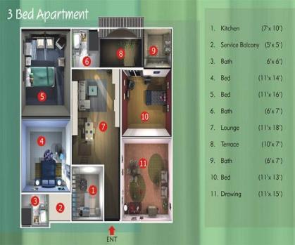 Harmain Royel Residency - 3 bed rooms floor plan
