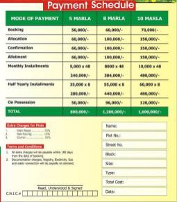 Phool Nagar Housing Scheme Payment Schedule 2