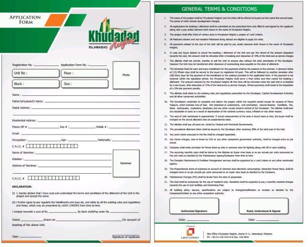 Application Form Khudadad Heights Islamabad