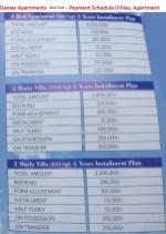 Damas Apartments Multan - Payment Schedule (Villas, Apartment)