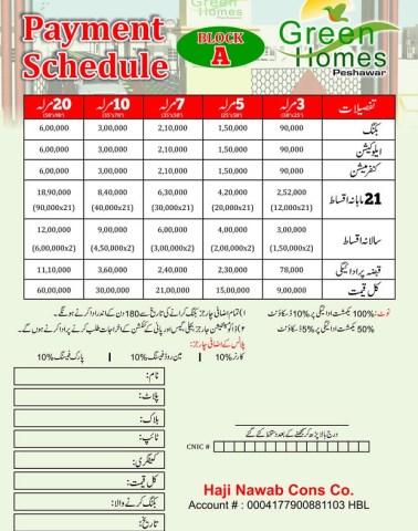 Green Homes Peshawar - Payment Schedule Block A
