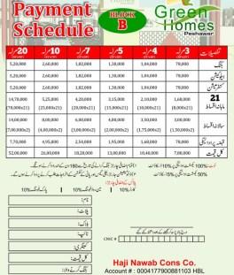 Green Homes Peshawar - Payment Schedule Block B