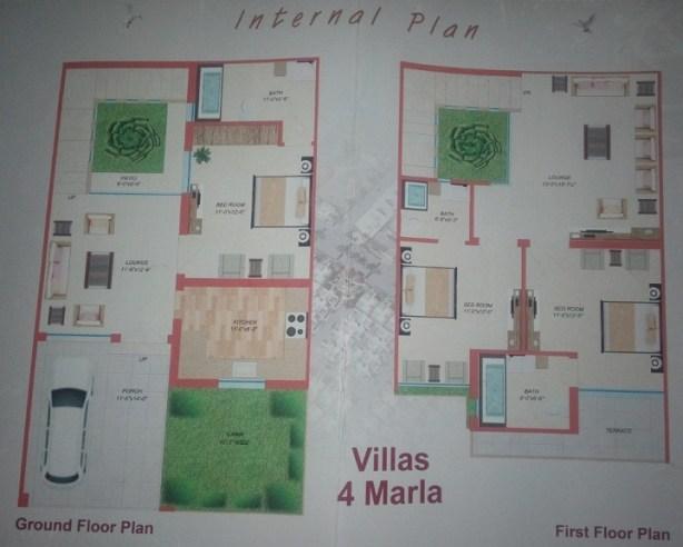 Liberty Homes Multan - 4 Marla Villa Layout Plan Drawing 24x41
