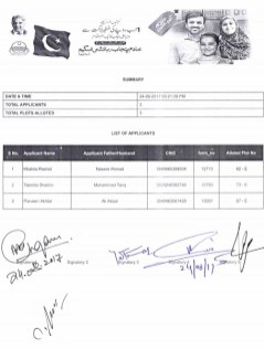 Sheikhupura Housing Colony Balloting Result 24-8-2017 (Shaheed Police Quota Category 3 Marla Plots Balloting Results)
