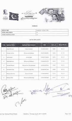 Sheikhupura Housing Colony Balloting Result 24-8-2017 (Shaheed Police Quota Category 5 Marla Plots Balloting Results)