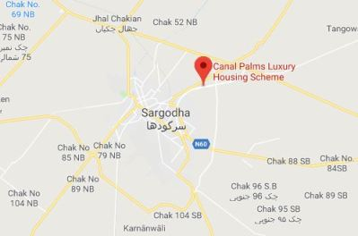 Canal Palms Housing Scheme Chak No 43 Shumali District Sargodha - Approved by District Council-location map