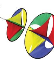 Hex-spinner rainbow three disk windsock