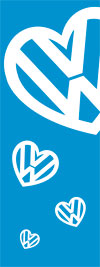 VW heart logo Banner flag 8ft x 3ft