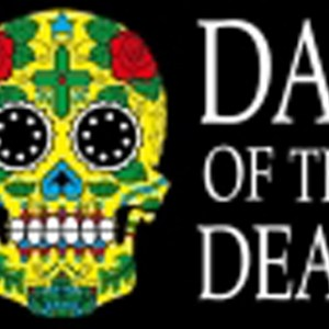 Day of the dead flag 5ft x 3ft featuring sugar skull type design