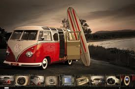 VW camper poster No 6 Kombi and surfboard