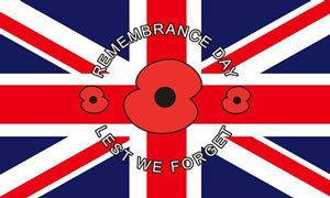 Remembrance day lest we forget flag 5x3ft