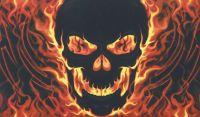 Skull with fire flag - 5ft x 3ft